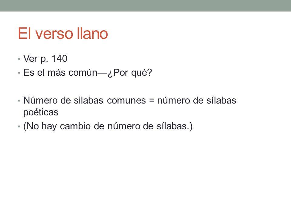 El verso llano Ver p. 140 Es el más común¿Por qué? Número de silabas comunes = número de sílabas poéticas (No hay cambio de número de sílabas.)