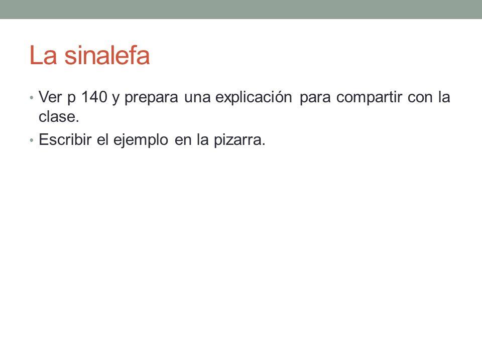 La sinalefa Ver p 140 y prepara una explicación para compartir con la clase. Escribir el ejemplo en la pizarra.