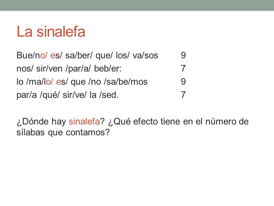 La sinalefa Bue/no/ es/ sa/ber/ que/ los/ va/sos 9 nos/ sir/ven /par/a/ beb/er: 7 lo /ma/lo/ es/ que /no /sa/be/mos9 par/a /qué/ sir/ve/ la /sed.7 ¿Dó