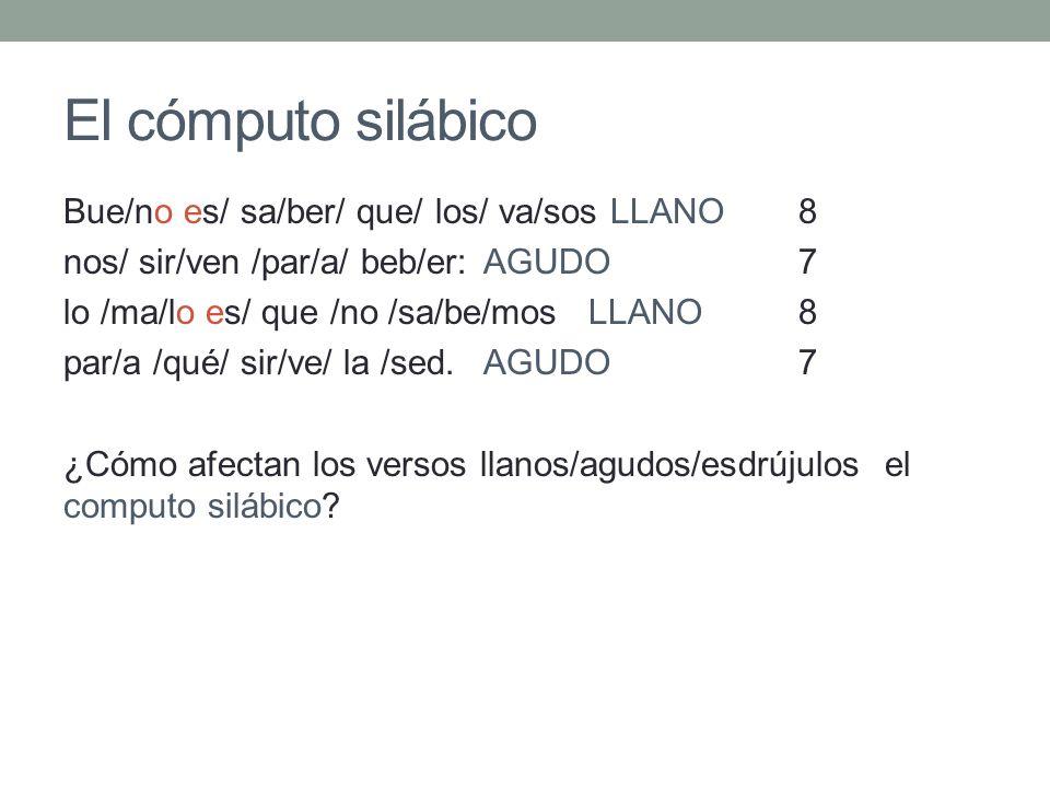 El cómputo silábico Bue/no es/ sa/ber/ que/ los/ va/sos LLANO8 nos/ sir/ven /par/a/ beb/er: AGUDO7 lo /ma/lo es/ que /no /sa/be/mosLLANO8 par/a /qué/