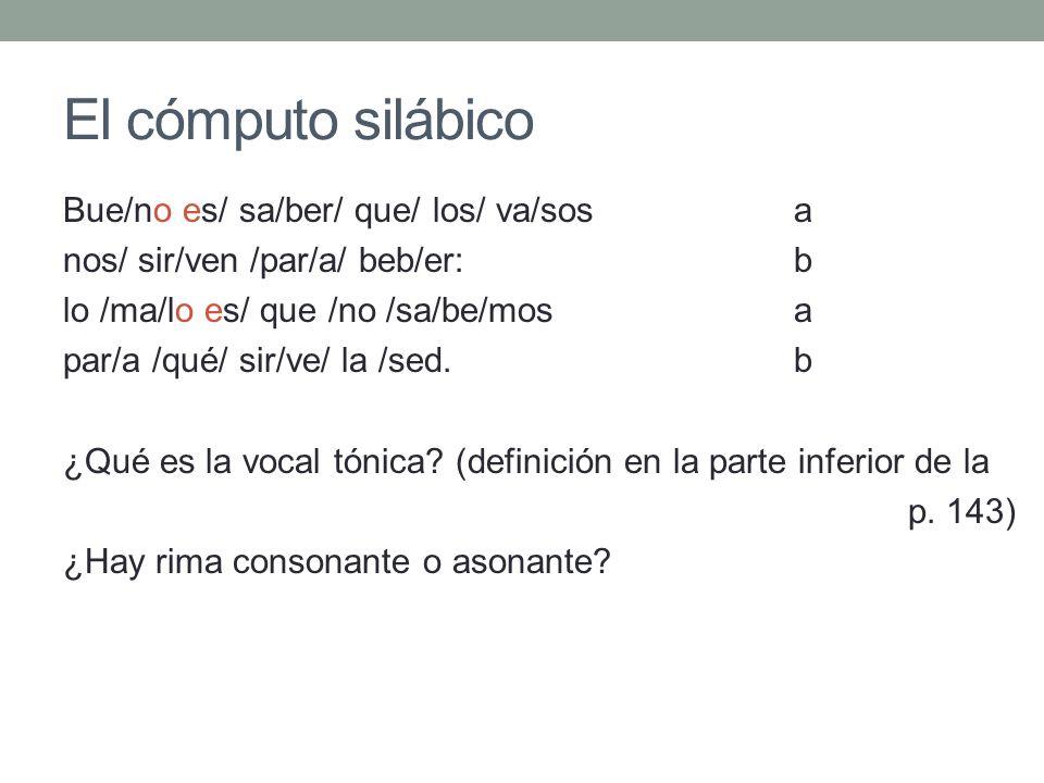 El cómputo silábico Bue/no es/ sa/ber/ que/ los/ va/sos a nos/ sir/ven /par/a/ beb/er: b lo /ma/lo es/ que /no /sa/be/mosa par/a /qué/ sir/ve/ la /sed