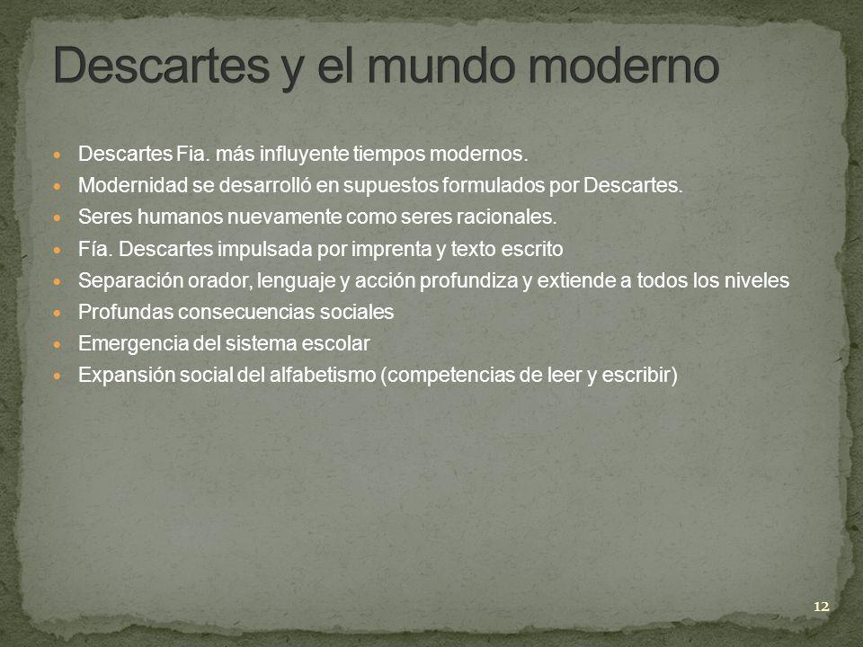 Descartes Fia. más influyente tiempos modernos. Modernidad se desarrolló en supuestos formulados por Descartes. Seres humanos nuevamente como seres ra