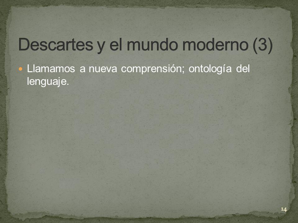 Llamamos a nueva comprensión; ontología del lenguaje. 14