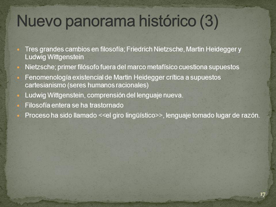Tres grandes cambios en filosofía; Friedrich Nietzsche, Martin Heidegger y Ludwig Wittgenstein Nietzsche; primer filósofo fuera del marco metafísico c
