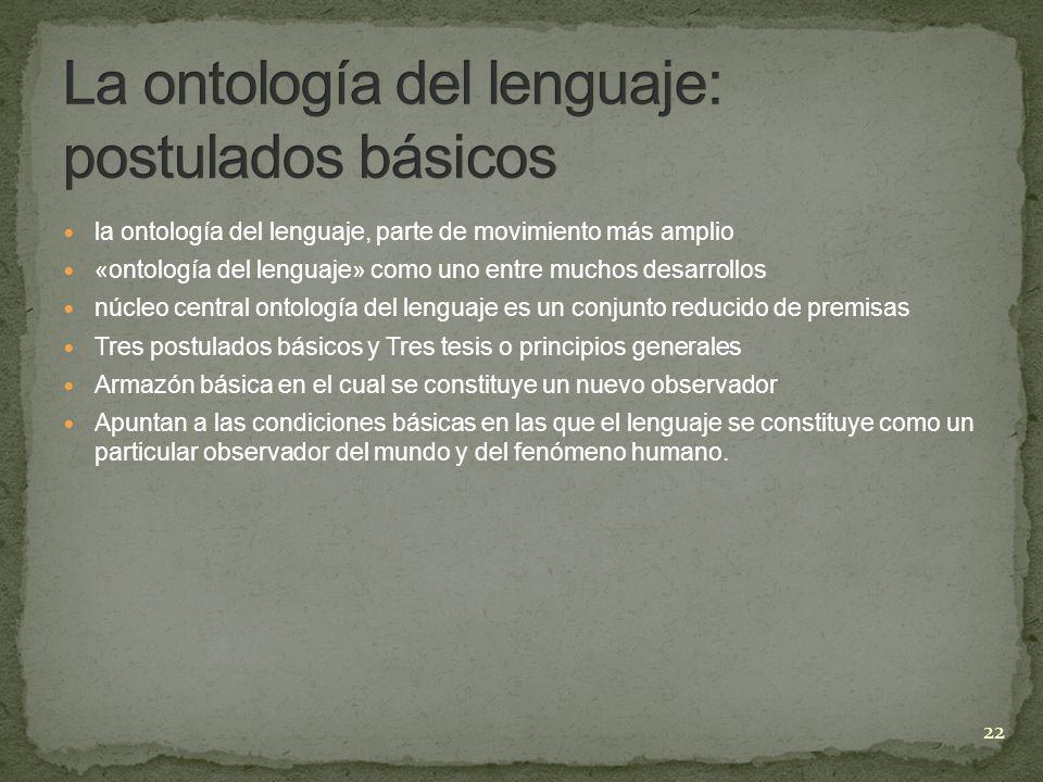 la ontología del lenguaje, parte de movimiento más amplio «ontología del lenguaje» como uno entre muchos desarrollos núcleo central ontología del leng