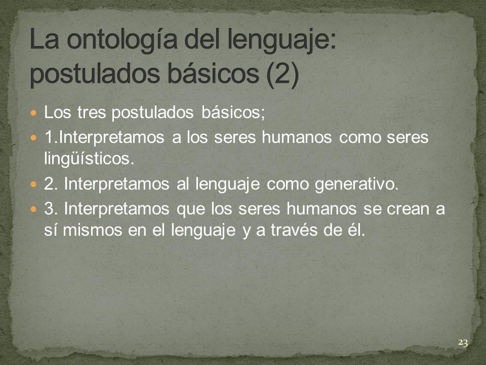 Los tres postulados básicos; 1.Interpretamos a los seres humanos como seres lingüísticos. 2. Interpretamos al lenguaje como generativo. 3. Interpretam