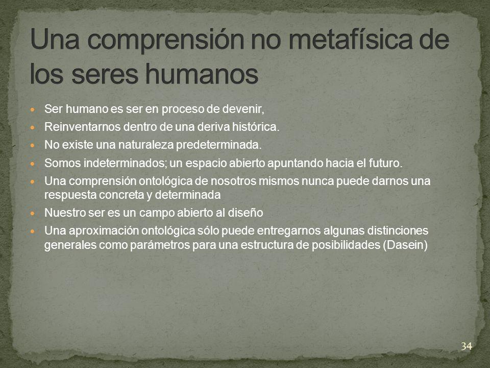Ser humano es ser en proceso de devenir, Reinventarnos dentro de una deriva histórica. No existe una naturaleza predeterminada. Somos indeterminados;