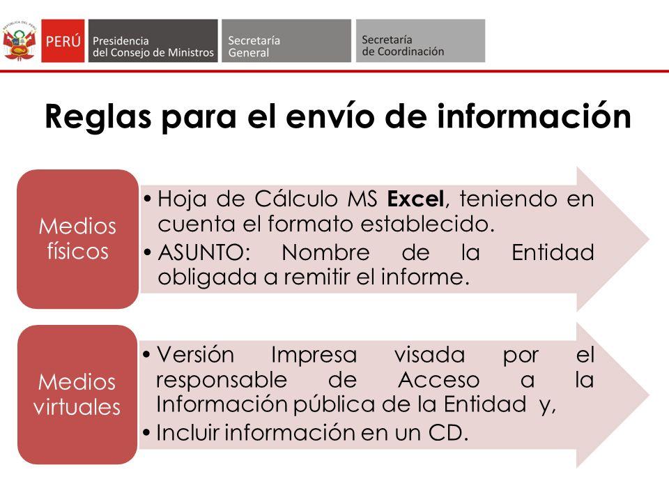 Reglas para el envío de información Hoja de Cálculo MS Excel, teniendo en cuenta el formato establecido.
