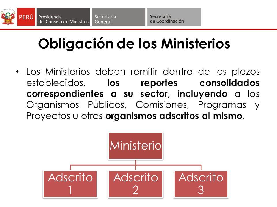 Obligación de los Ministerios Los Ministerios deben remitir dentro de los plazos establecidos, los reportes consolidados correspondientes a su sector, incluyendo a los Organismos Públicos, Comisiones, Programas y Proyectos u otros organismos adscritos al mismo.