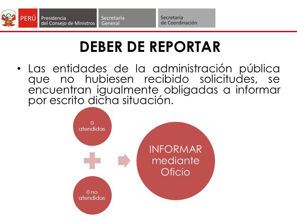 DEBER DE REPORTAR Las entidades de la administración pública que no hubiesen recibido solicitudes, se encuentran igualmente obligadas a informar por escrito dicha situación.