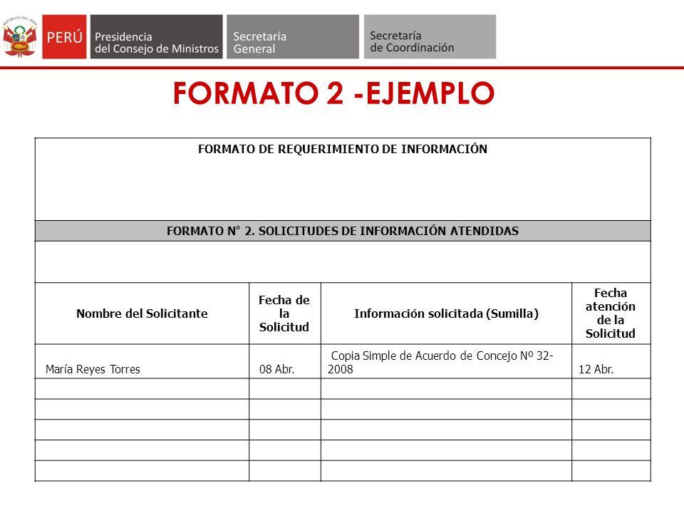 FORMATO 2 -EJEMPLO FORMATO DE REQUERIMIENTO DE INFORMACIÓN FORMATO N° 2.