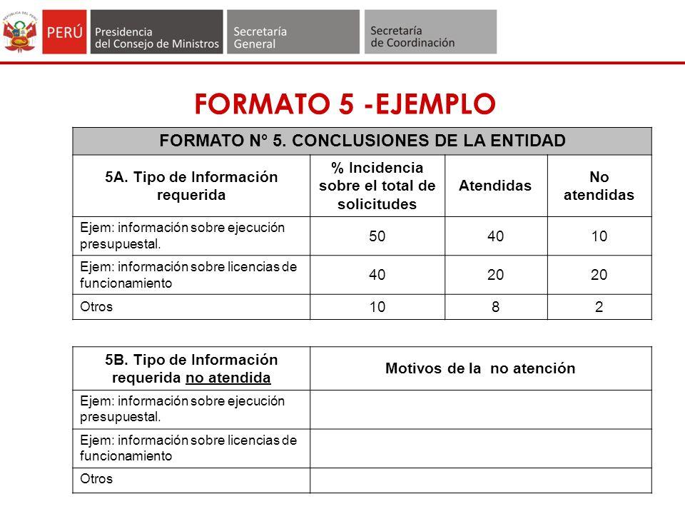 FORMATO 5 -EJEMPLO FORMATO N° 5.CONCLUSIONES DE LA ENTIDAD 5A.