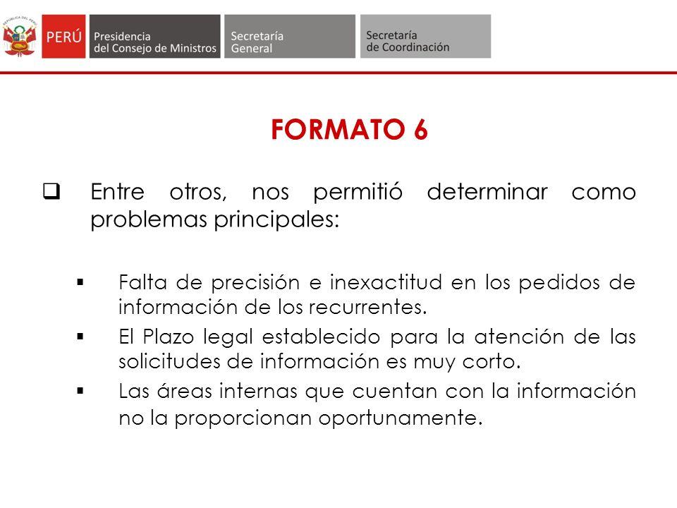FORMATO 6 Entre otros, nos permitió determinar como problemas principales: Falta de precisión e inexactitud en los pedidos de información de los recurrentes.