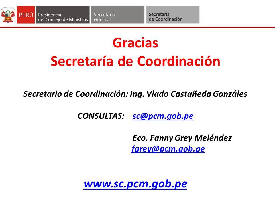 Gracias Secretaría de Coordinación Secretario de Coordinación: Ing.