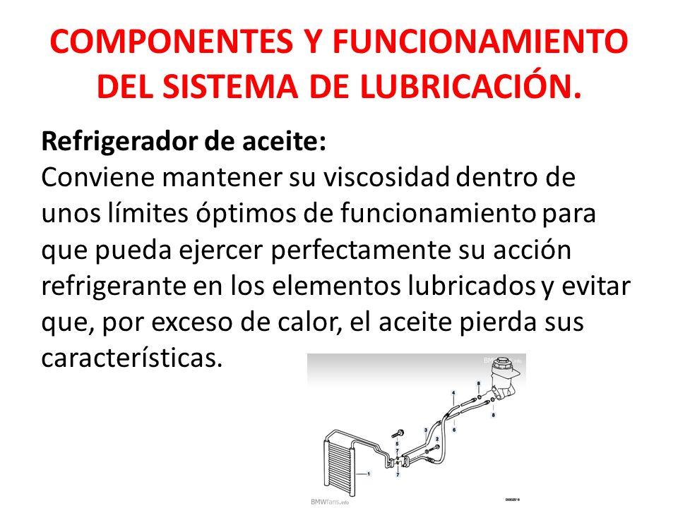 Refrigerador de aceite: Conviene mantener su viscosidad dentro de unos límites óptimos de funcionamiento para que pueda ejercer perfectamente su acció