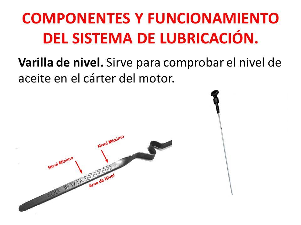 COMPONENTES Y FUNCIONAMIENTO DEL SISTEMA DE LUBRICACIÓN. Varilla de nivel. Sirve para comprobar el nivel de aceite en el cárter del motor.