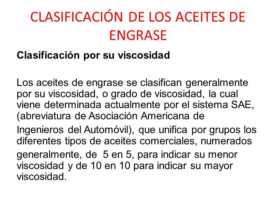 CLASIFICACIÓN DE LOS ACEITES DE ENGRASE Clasificación por su viscosidad Los aceites de engrase se clasifican generalmente por su viscosidad, o grado d