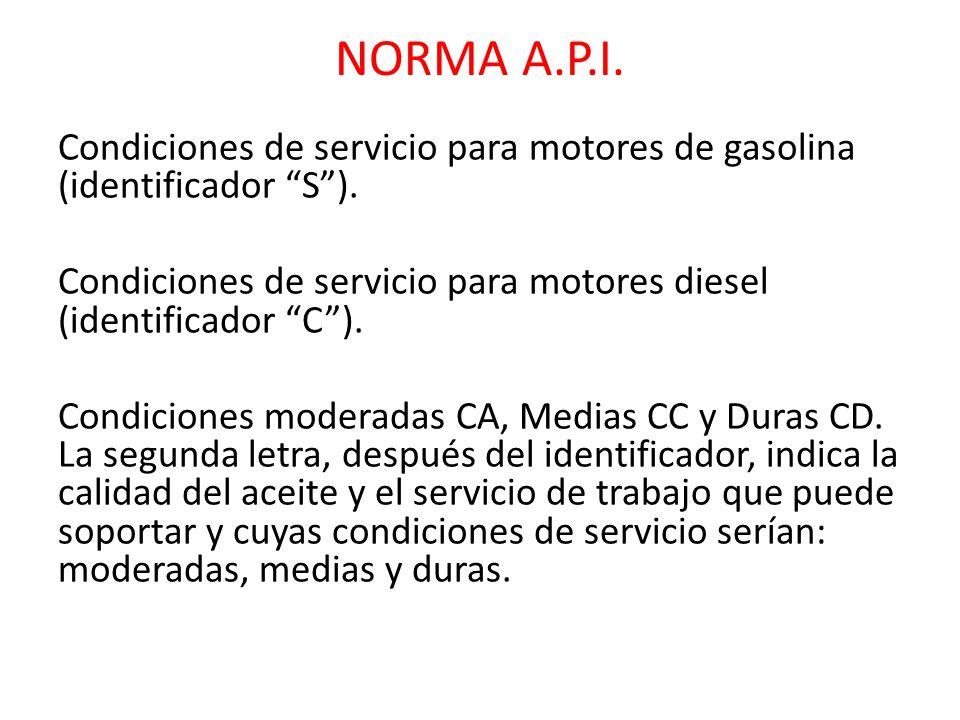 NORMA A.P.I. Condiciones de servicio para motores de gasolina (identificador S). Condiciones de servicio para motores diesel (identificador C). Condic