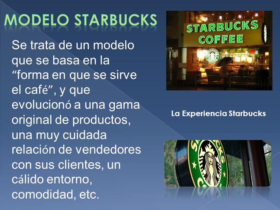 Se trata de un modelo que se basa en la forma en que se sirve el caf é, y que evolucion ó a una gama original de productos, una muy cuidada relaci ó n de vendedores con sus clientes, un c á lido entorno, comodidad, etc.