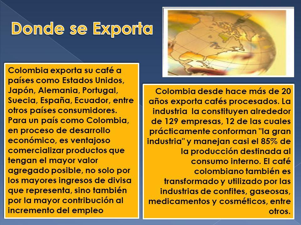 Colombia exporta su café a países como Estados Unidos, Japón, Alemania, Portugal, Suecia, España, Ecuador, entre otros países consumidores.