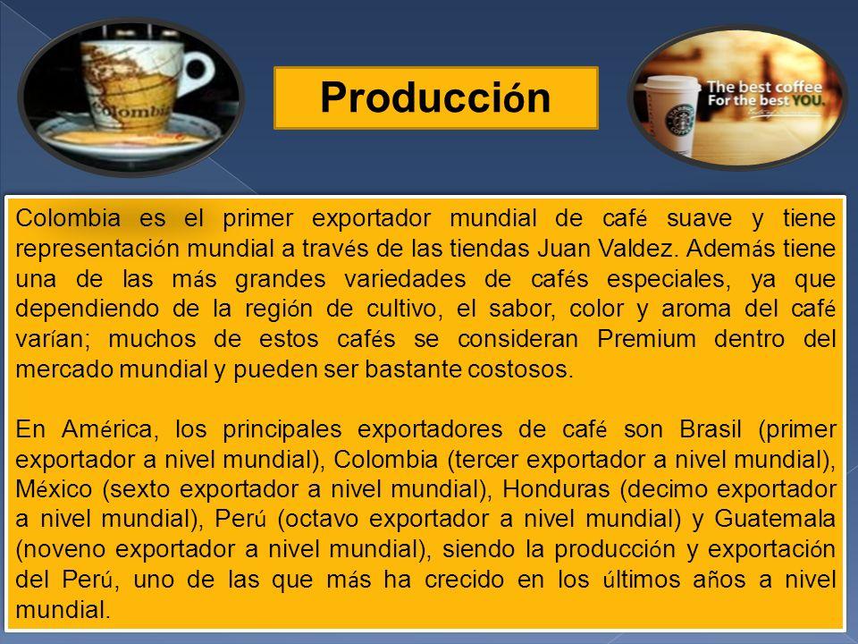 Producci ó n Colombia es el primer exportador mundial de caf é suave y tiene representaci ó n mundial a trav é s de las tiendas Juan Valdez.