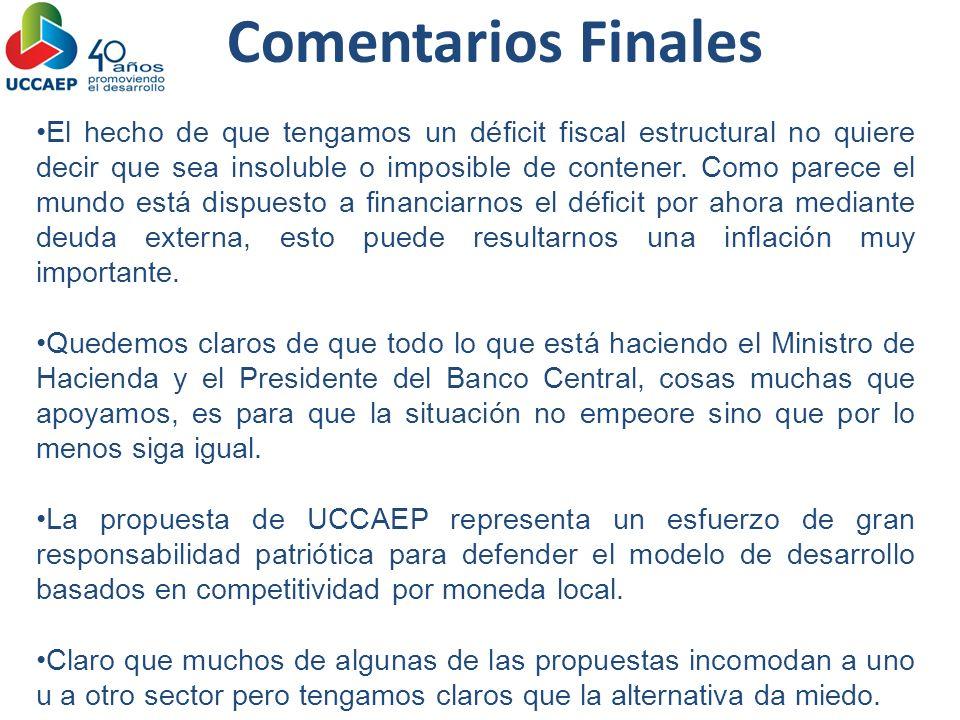 Comentarios Finales El hecho de que tengamos un déficit fiscal estructural no quiere decir que sea insoluble o imposible de contener. Como parece el m