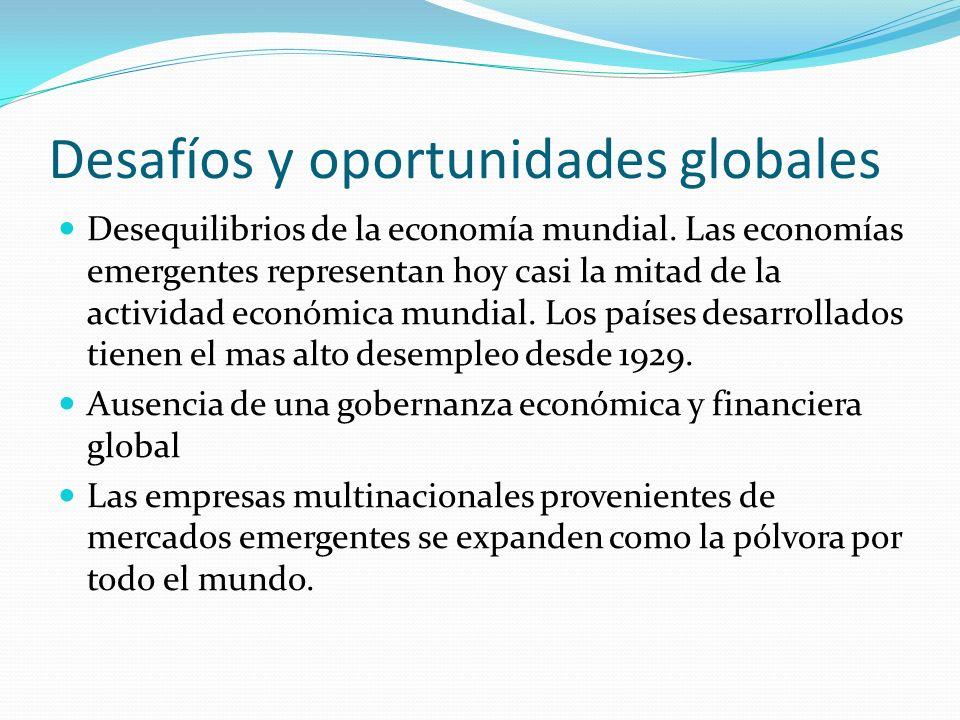 Desafíos y oportunidades globales Desequilibrios de la economía mundial. Las economías emergentes representan hoy casi la mitad de la actividad económ
