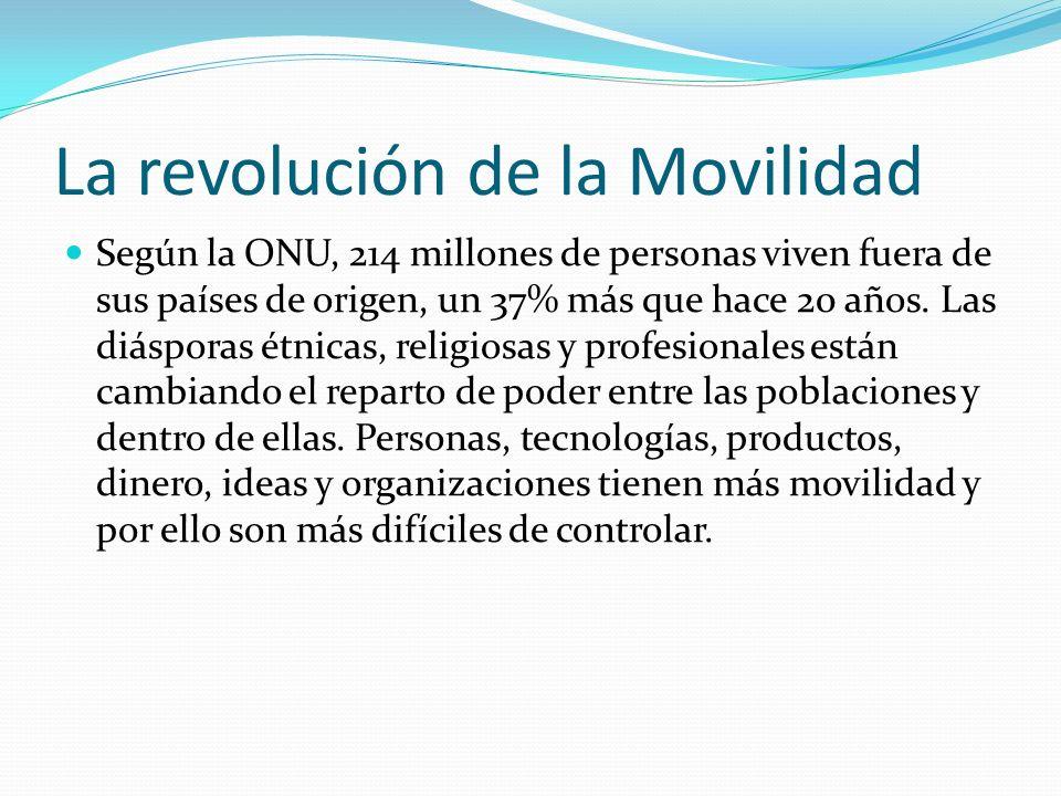 La revolución de la Movilidad Según la ONU, 214 millones de personas viven fuera de sus países de origen, un 37% más que hace 20 años. Las diásporas é