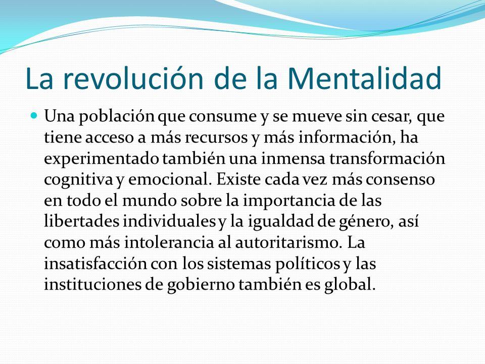 La revolución de la Mentalidad Una población que consume y se mueve sin cesar, que tiene acceso a más recursos y más información, ha experimentado tam