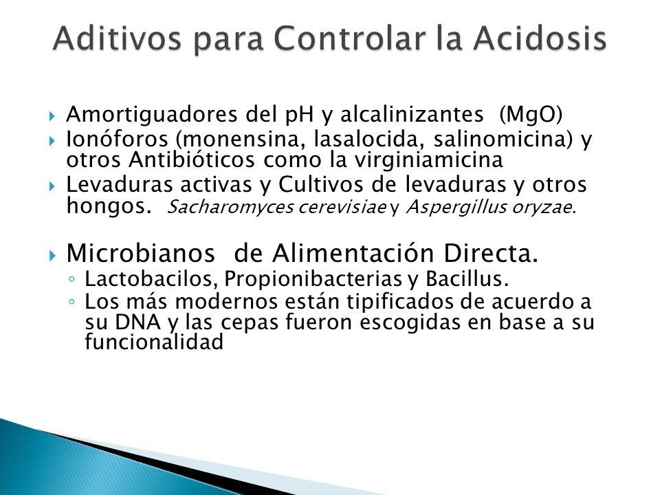 Amortiguadores del pH y alcalinizantes (MgO) Ionóforos (monensina, lasalocida, salinomicina) y otros Antibióticos como la virginiamicina Levaduras act
