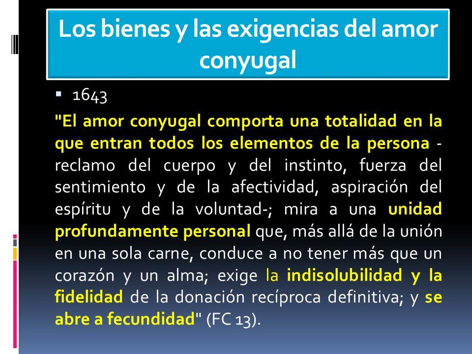 Los bienes y las exigencias del amor conyugal 1643
