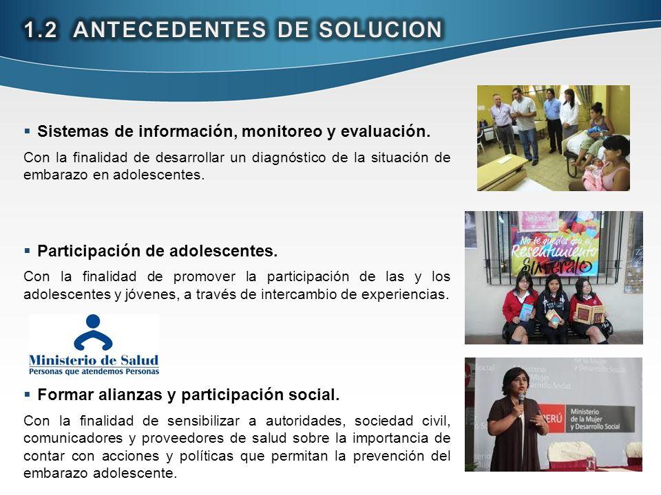 Sistemas de información, monitoreo y evaluación. Con la finalidad de desarrollar un diagnóstico de la situación de embarazo en adolescentes. Participa