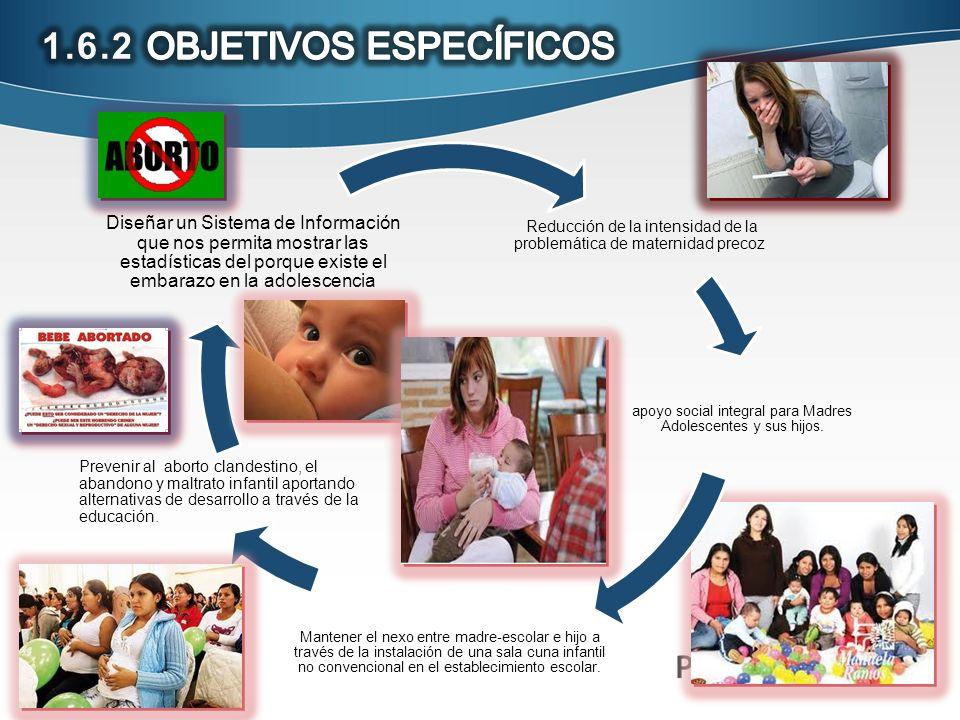 Reducción de la intensidad de la problemática de maternidad precoz apoyo social integral para Madres Adolescentes y sus hijos. Mantener el nexo entre