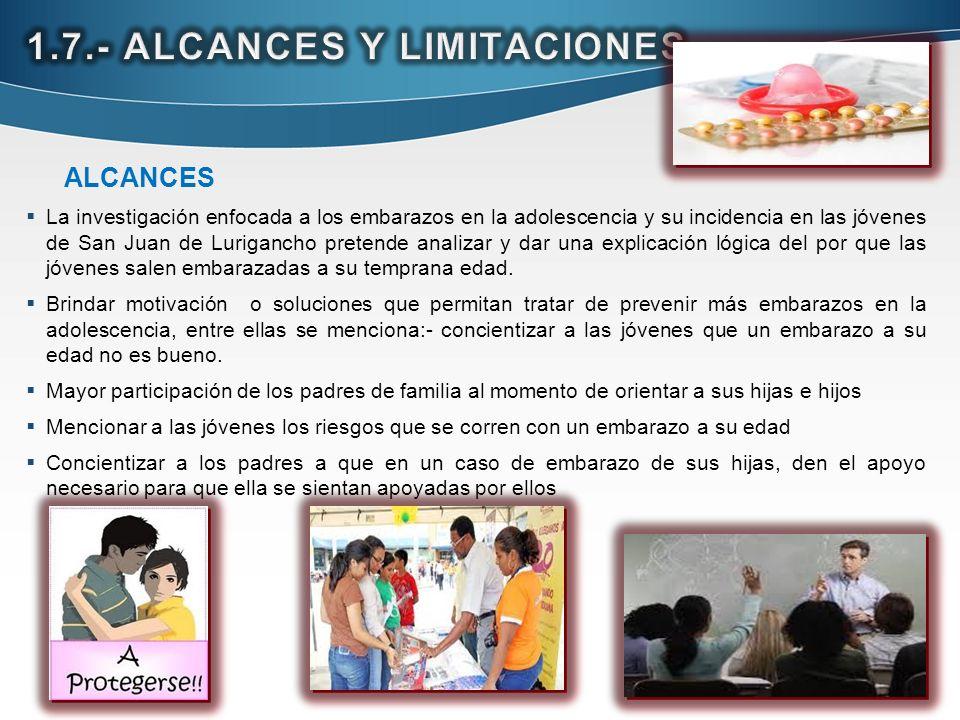 ALCANCES La investigación enfocada a los embarazos en la adolescencia y su incidencia en las jóvenes de San Juan de Lurigancho pretende analizar y dar