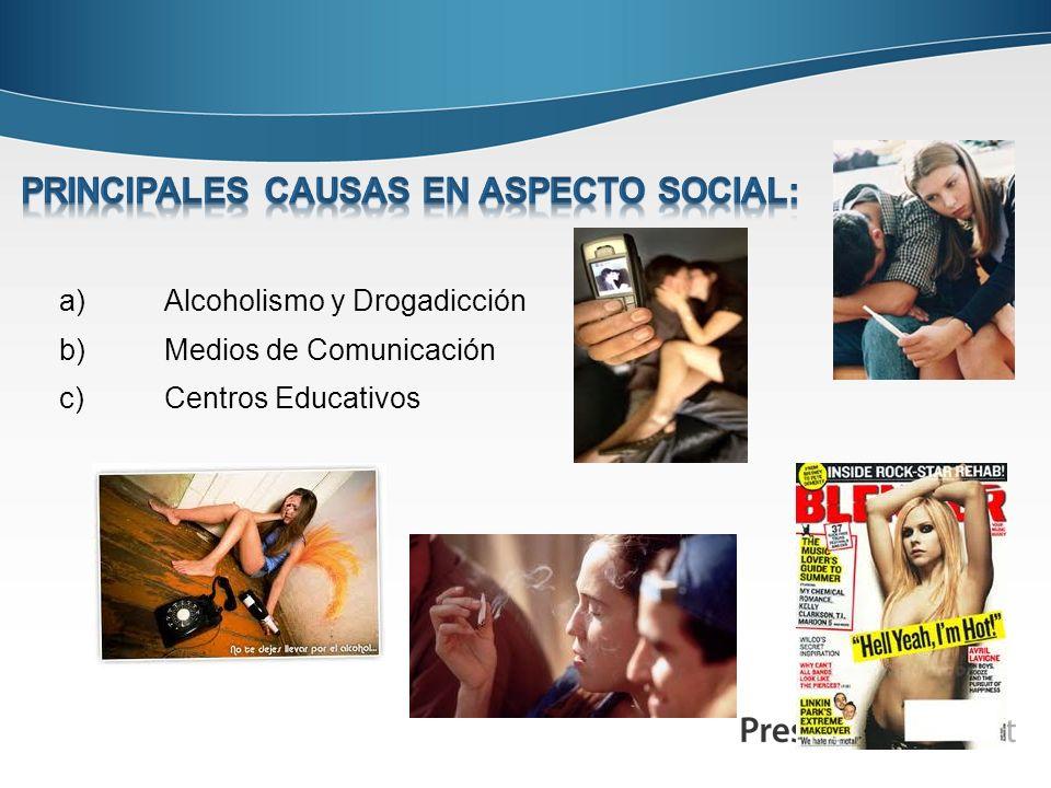a)Alcoholismo y Drogadicción b)Medios de Comunicación c)Centros Educativos
