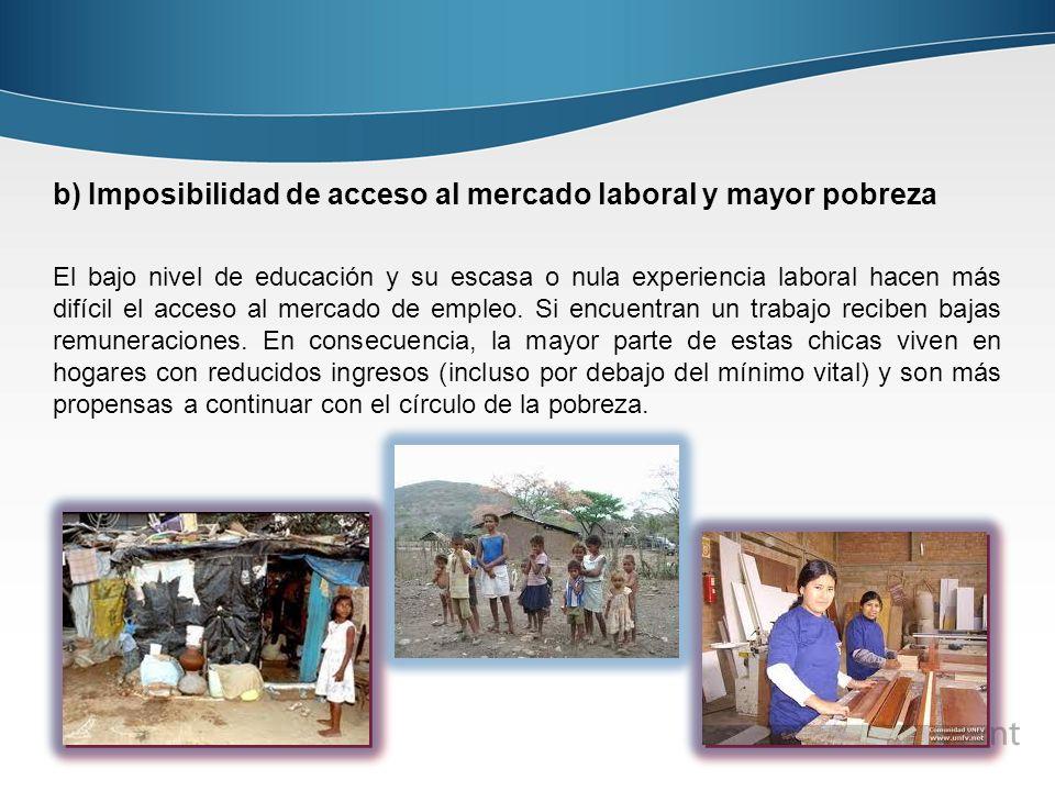 b) Imposibilidad de acceso al mercado laboral y mayor pobreza El bajo nivel de educación y su escasa o nula experiencia laboral hacen más difícil el a