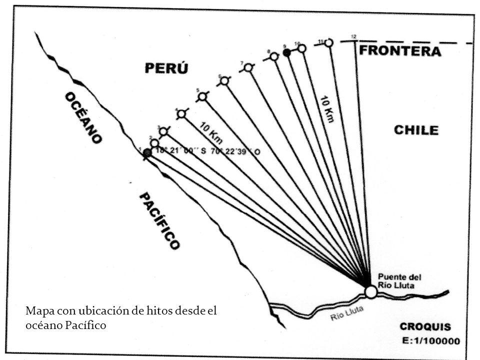 Mapa con ubicación de hitos desde el océano Pacífico
