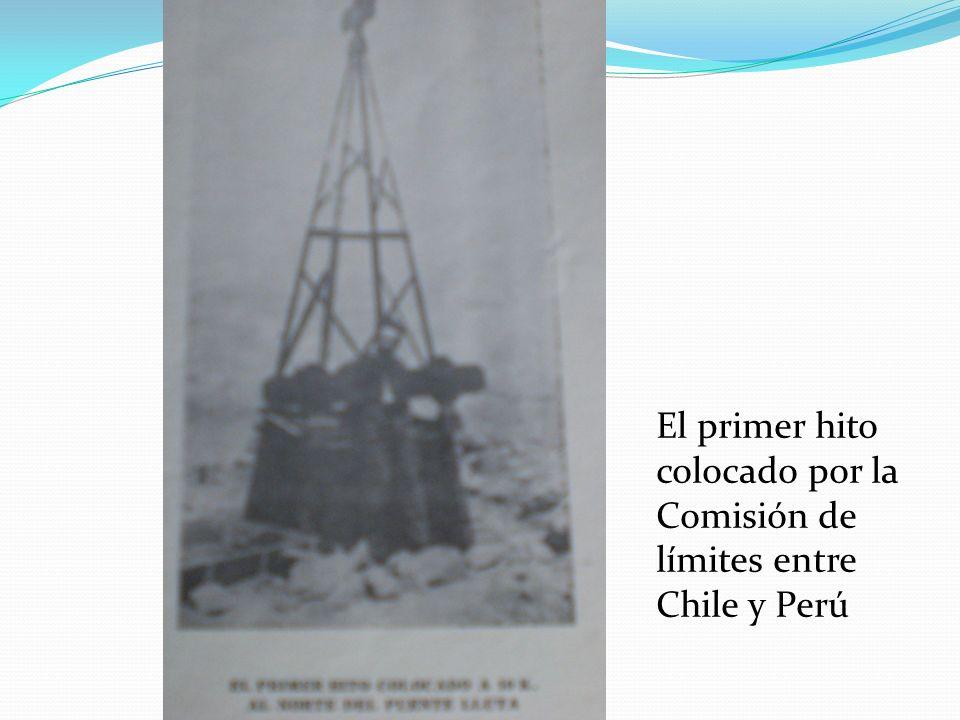 El primer hito colocado por la Comisión de límites entre Chile y Perú