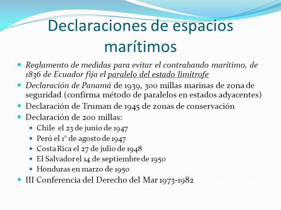 Declaraciones de espacios marítimos Reglamento de medidas para evitar el contrabando marítimo, de 1836 de Ecuador fija el paralelo del estado limítrof