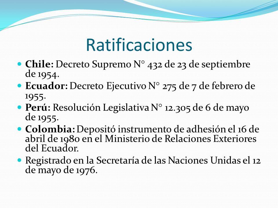 Ratificaciones Chile: Decreto Supremo N° 432 de 23 de septiembre de 1954. Ecuador: Decreto Ejecutivo N° 275 de 7 de febrero de 1955. Perú: Resolución