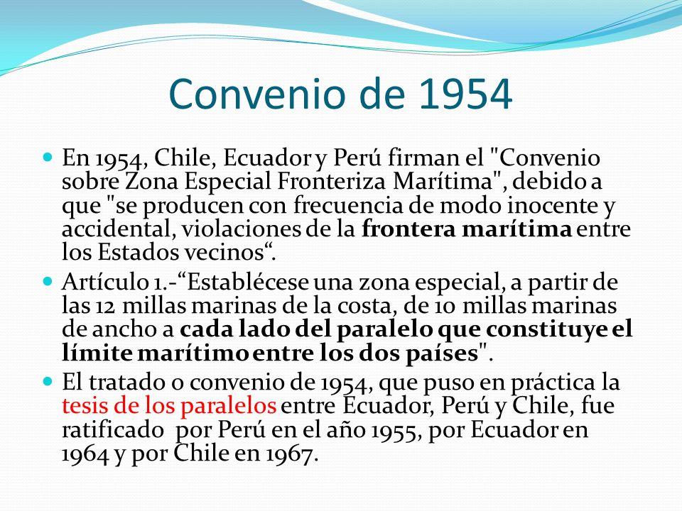 Convenio de 1954 En 1954, Chile, Ecuador y Perú firman el