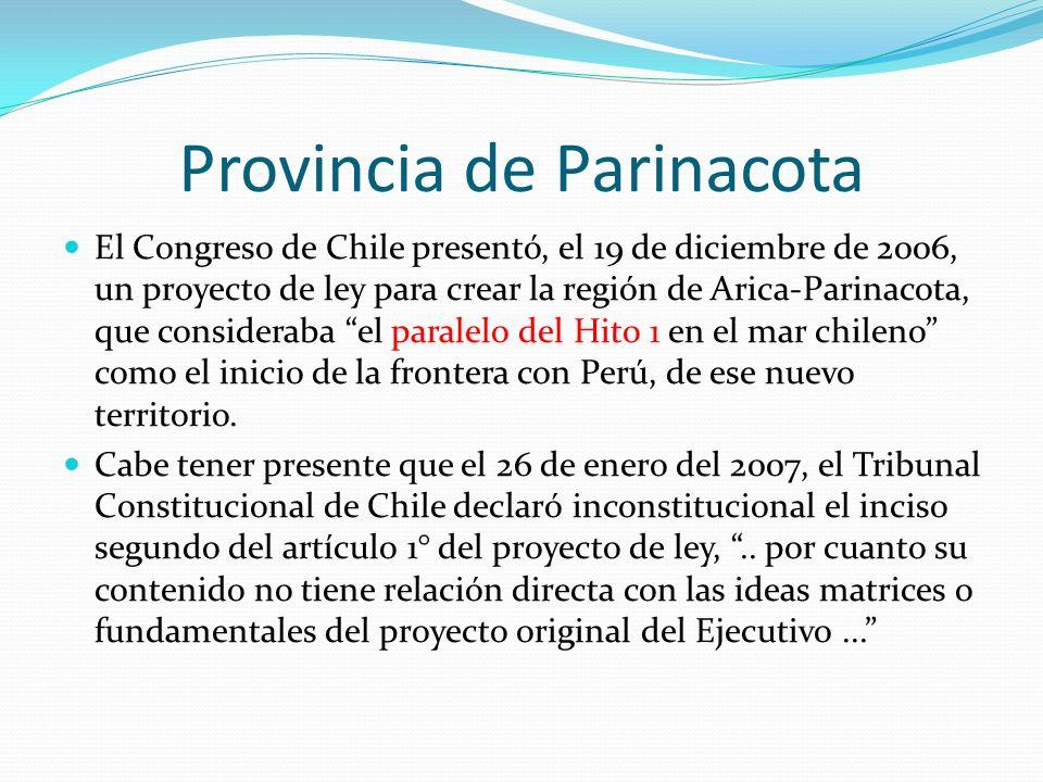 Provincia de Parinacota El Congreso de Chile presentó, el 19 de diciembre de 2006, un proyecto de ley para crear la región de Arica-Parinacota, que co