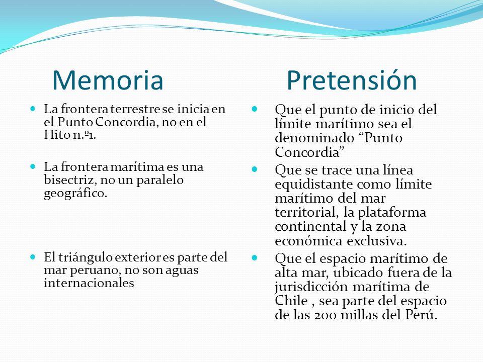 Memoria Pretensión La frontera terrestre se inicia en el Punto Concordia, no en el Hito n.º1. La frontera marítima es una bisectriz, no un paralelo ge