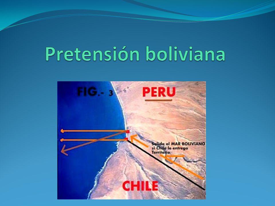 Pretensión de Bolivia Artículo 268, de la Constitución de Bolivia de 2009: la solución efectiva al diferendo marítimo, a través de medios pacíficos y el ejercicio pleno de la soberanía sobre dicho territorio, constituyen objetivos permanentes e irrenunciables del Estado boliviano.
