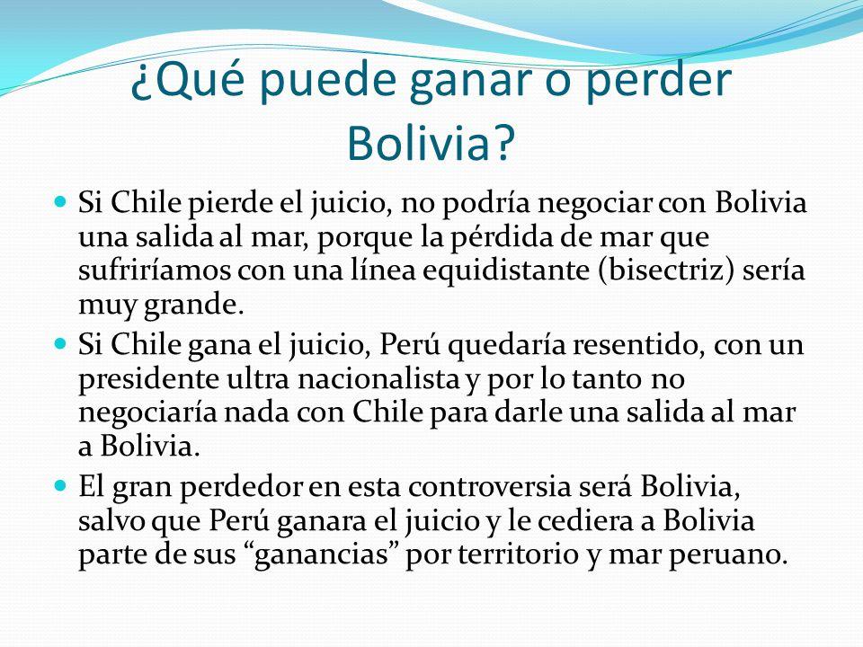 ¿Qué puede ganar o perder Bolivia? Si Chile pierde el juicio, no podría negociar con Bolivia una salida al mar, porque la pérdida de mar que sufriríam