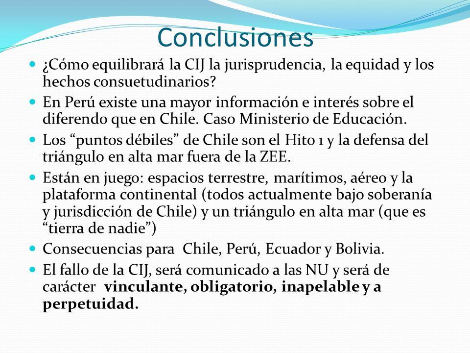 Conclusiones ¿Cómo equilibrará la CIJ la jurisprudencia, la equidad y los hechos consuetudinarios? En Perú existe una mayor información e interés sobr