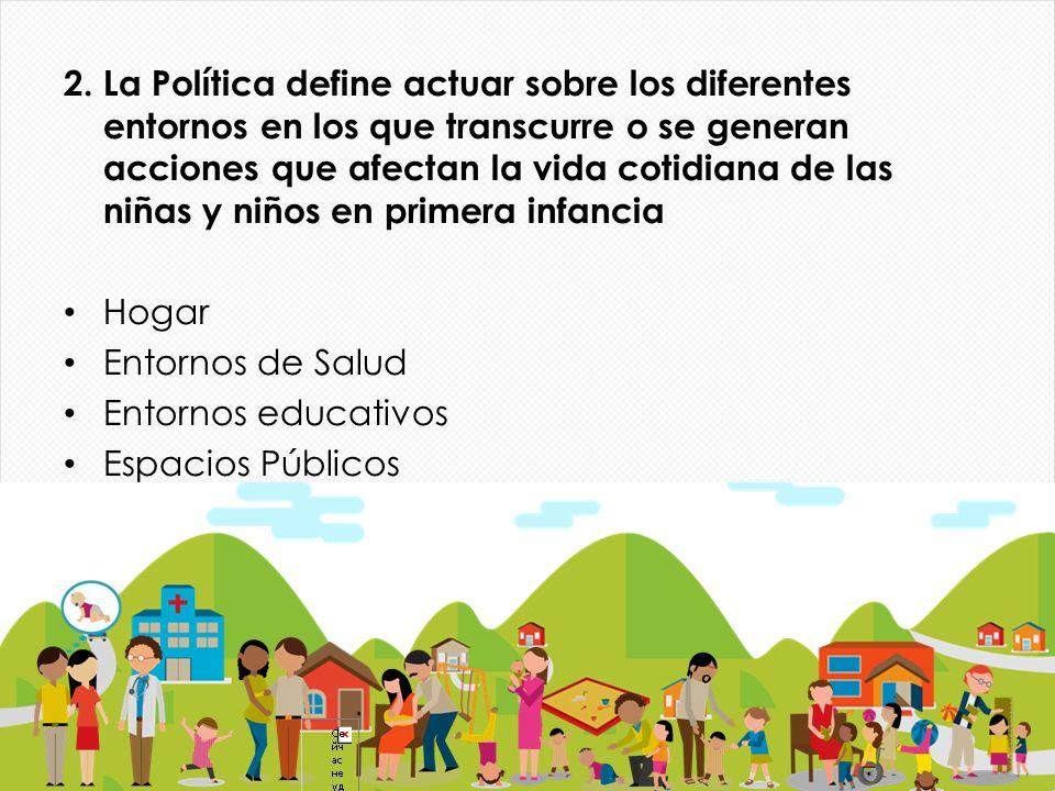 2. La Política define actuar sobre los diferentes entornos en los que transcurre o se generan acciones que afectan la vida cotidiana de las niñas y ni