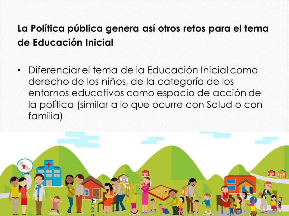 La Política pública genera así otros retos para el tema de Educación Inicial Diferenciar el tema de la Educación Inicial como derecho de los niños, de