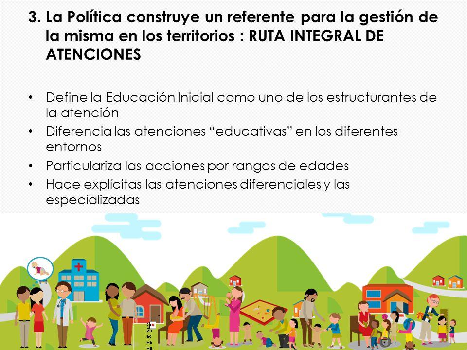 3. La Política construye un referente para la gestión de la misma en los territorios : RUTA INTEGRAL DE ATENCIONES Define la Educación Inicial como un