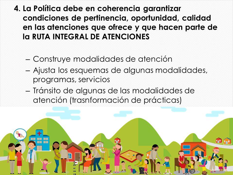 4. La Política debe en coherencia garantizar condiciones de pertinencia, oportunidad, calidad en las atenciones que ofrece y que hacen parte de la RUT